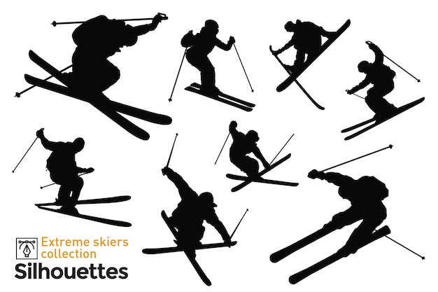 Set of isolated silhouettes of ski riders.