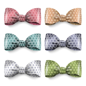 Set of isolated silk bows with polka dot