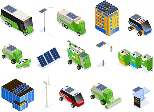 Set of isolated smart urban ecology isometric icons with futuristic transport units buildings and solar batteries
