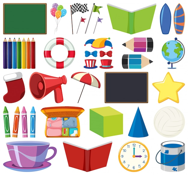 Set of isolated stationeries objects