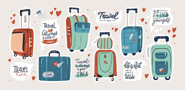 Set of isolated suitcases. travel bags and quotes stickers set