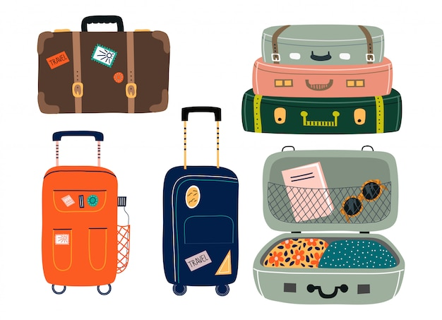 Set of isolated suitcases. travel bags with various stickers.