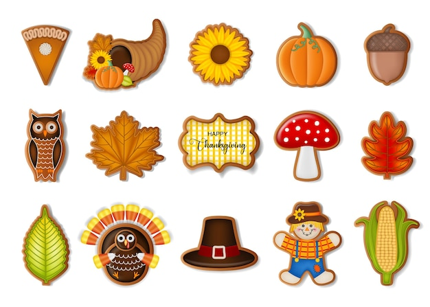 Set of isolated thanksgiving gingerbread cookies