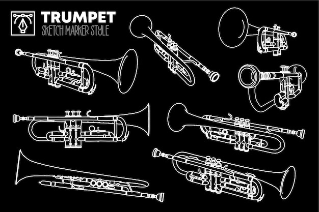 Set of isolated trumpet views. marker effect drawings. editable colored silhouettes.