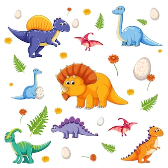Set of isolated various dinosaurs cartoon character on white background