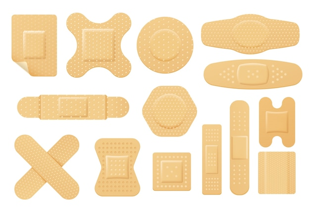 Set of isolated vector elastic bandage patch.