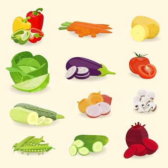 Set of isolated vegetables
