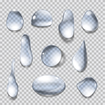 Set of isolated water drops on transparent background