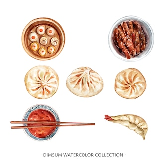 Set of isolated watercolor chopstick, steamed bun illustration for decorative use.