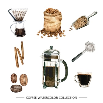 Set of isolated watercolor coffee