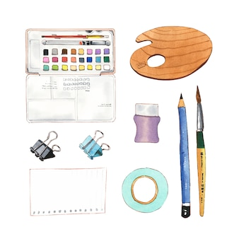 Set of isolated watercolor pencil, painting brush, tape illustration for decorative use.