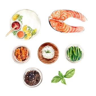 Set of isolated watercolor rice, pepper, fish illustration for decorative use.