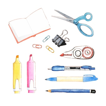 Set of isolated watercolor scissors, pencil, pen illustration for decorative use.