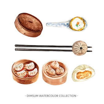Set of isolated watercolor steamed bun, chopstick, spoon illustration for decorative use.