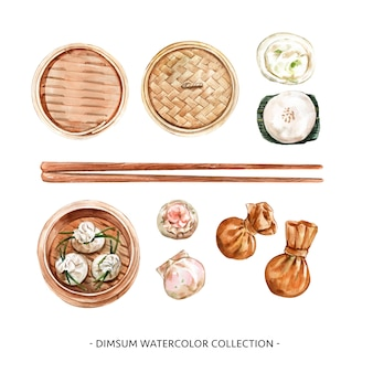 Set of isolated watercolor steamed bun, dumpling illustration for decorative use.