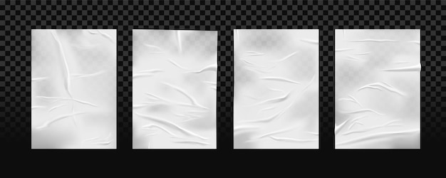 Set of isolated white glued wrinkled paper. crumpled piece of patch or scrunched wet tape.