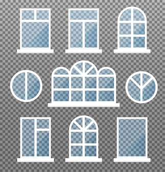 Set of isolated windows. front store window frame with blue glasses. exterior building facade element on transparent background.  illustration.