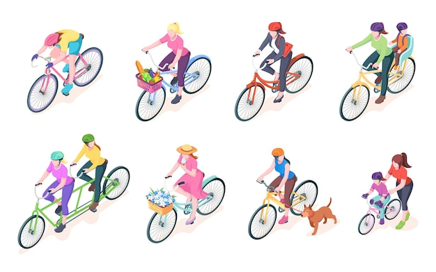 Set of isolated woman cyclist on bikes with baskets bike with women rider and flowers grocery female