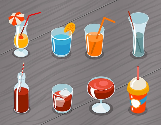 Set of isometric  3d drinks icons. cocktail alcohol, liquid and juice, tropical fresh