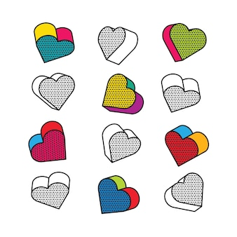 Set of isometric, 3d hearts in pop art style.