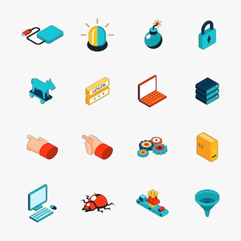 Set of isometric 3d internet security web icons. login and password, trojan and virus and warning.