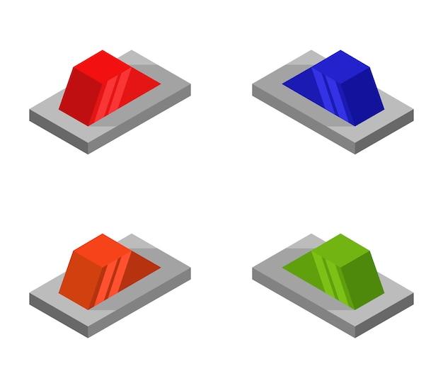 Set of isometric alarm sirens