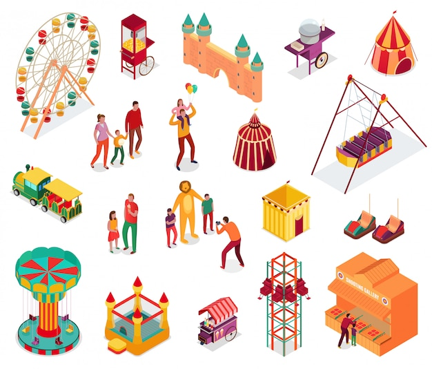 Set of isometric amusement park elements with visitors street food and attractions isolated illustration
