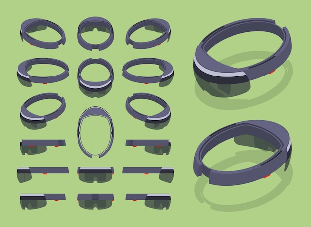Set of the isometric augmented reality headsets