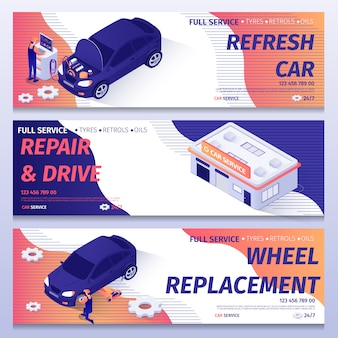 Set of isometric banners for auto repair service