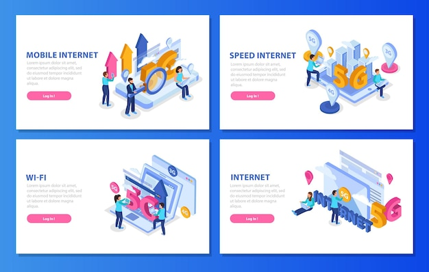 Set of isometric banners with 5g mobile speed