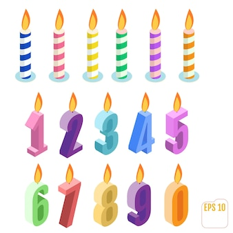 Set of isometric birthday candles
