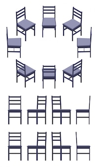 Set of the isometric black chairs