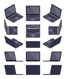 Set of the isometric black laptops