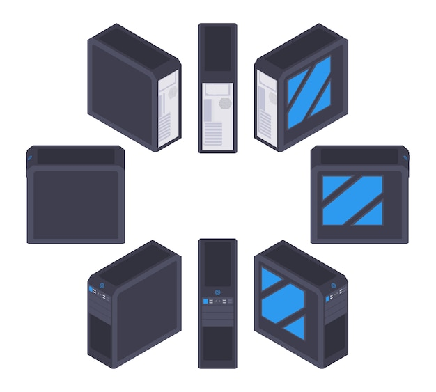 Set of the isometric black pc cases