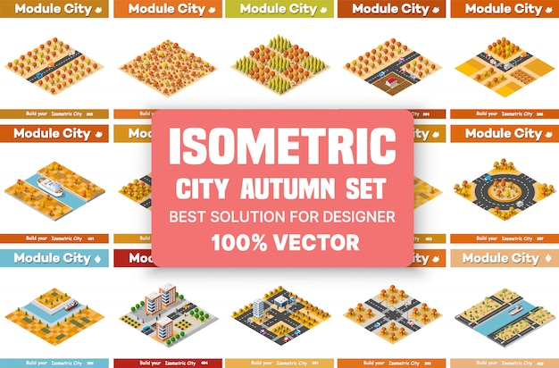 Set of isometric blocks of city areas in autumn