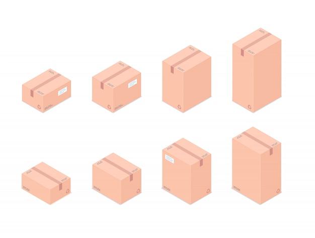 Set of isometric boxes isolated on white background