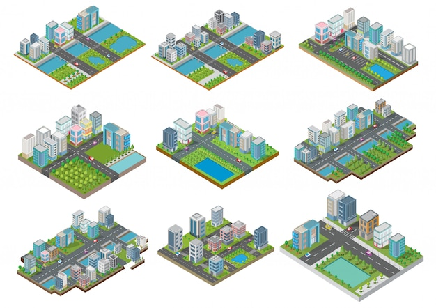 Set of isometric buildings with yard, river, road and trees
