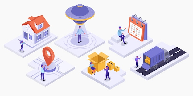 Set isometric of business delivery marketing
