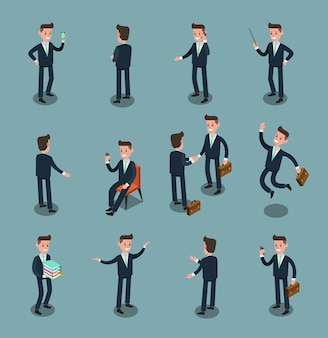 Set of isometric business people in office, share idea, info graphic vector design 2
