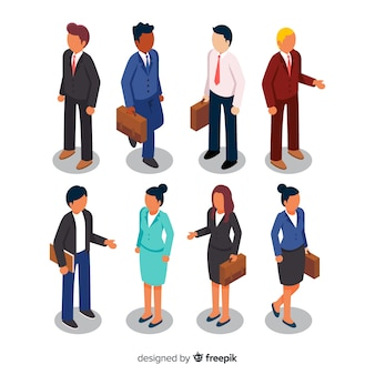 Set of isometric business people