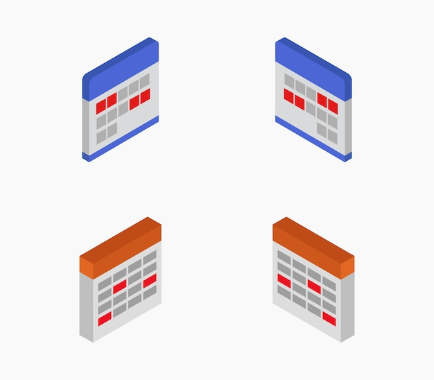 Set of isometric calendars