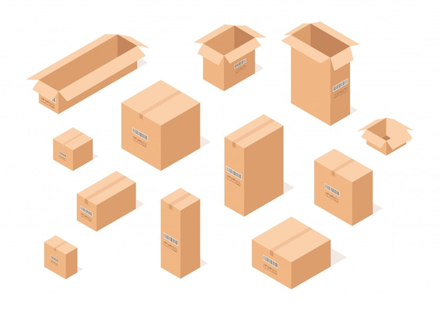 Set of isometric cardboard boxes.