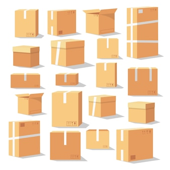 Set of isometric cardboard boxes
