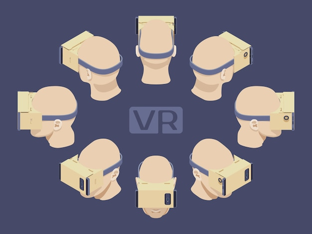 Set of the isometric cardboard virtual reality headsets. the objects are isolated against the dark-violet background and shown from different sides