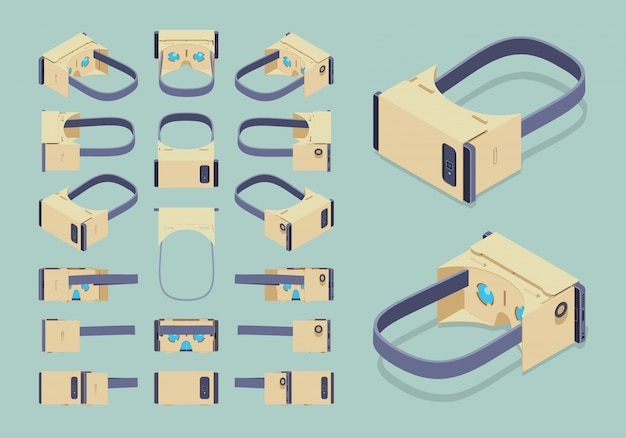 Set of the isometric cardboard virtual reality headsets