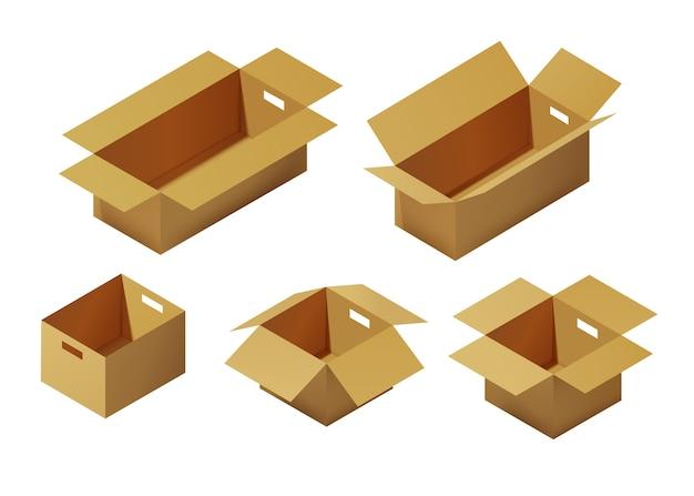 Набор изометрической картонной упаковочной коробки
