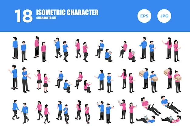 Установить изометрический вектор дизайна персонажей
