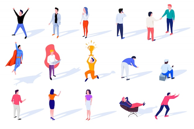 Set of isometric characters engaged in various affairs.
