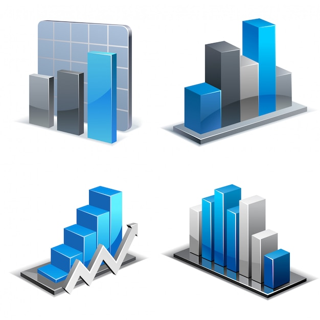 Set of isometric charts and graphs