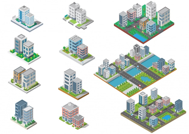 Set of isometric city building